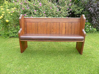 Victorian Pitch Pine Pew with Shaped Ends, Brass Umbrella Holder + Tray+ Cushion