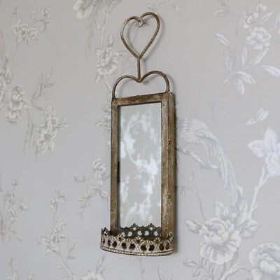 Small metal wall hanging mirror candle sconce shabby vintage chic garden home