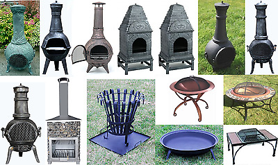 Warrior Stoves Cast Iron Chimnea Oven Patio Heater Grill Fire Basket Pit BBQ