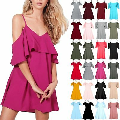 Womens Ladies Peplum Ruffle Frill Strappy Cold Cut Out Shoulder Swing Mini Dress