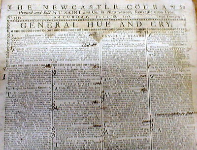 Rare orignl 1779 newspaper AMERICAN REVOLUTIONARY WAR Newcastle Courant ENGLAND