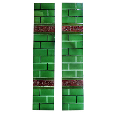 OT157 - Antique Fireplace Tiles Green Brick Design