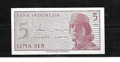 INDONESIA #91a 1964 UNC-MINT OLD 5 SEN BANKNOTE BILL NOTE PAPER MONEY CURRENCY