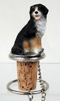 BERNESE MOUNTAIN DOG CORK WINE BOTTLE STOPPER resin HAND PAINTED Topper FIGURINE