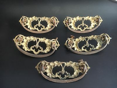 Victorian Ornate Brass 5 Drawer Pulls With Original  Screws Vintage