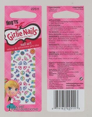 Nail stickers for Girls Peace Hearts Birds. Nail Art Stocking Fillers Xmas Gift