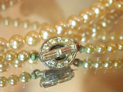 Dainty Deco Glass Faux Pearl Fancy Rhinestone Clasp Vintage 40's Necklace 114jl7
