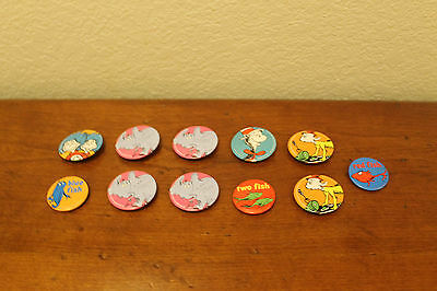 Dr. Seuss Collectible Button Pins Set of 11 Cat in Hat Blue Fish Sam I Am Horton