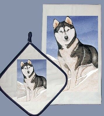 Dish Towel & Pot Holder - Siberian Husky Snow DP927