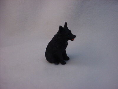 SCHIPPERKE black puppy TiNY DOG Figurine HANDPAINTED MINIATURE Resin Statue NEW