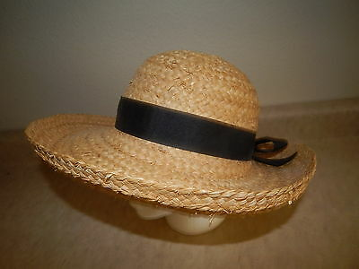 Large Wide Rolled Brim Straw Sun Hat, with Black Bow Trim, by Capelli, One Size