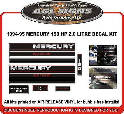 1994 1995 MERCURY 150 hp  2.0 Litre Outboard Decals reproduction 135 hp also