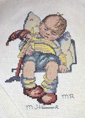 """Vintage Finished Crosstitch Hummel Sleeping Childs and Doll 8"""" x 10"""""""