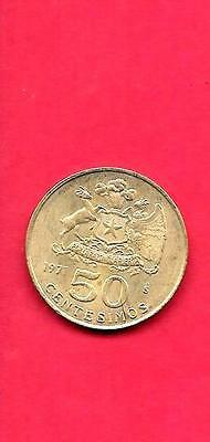 Chile Km196 Xf-Super Fine-Nice 1971 50 Centesimos Old Vintage Coin
