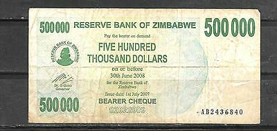 Zimbabwe #51 Vg Circulated $500000 Inflation Banknote Bill Note Paper Money