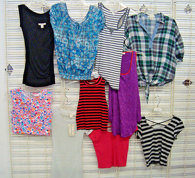 DEREK HEART Juniors MEDIUM 10 Pc Summer/fall TOP shirt LOT Salesman Samples NwoT