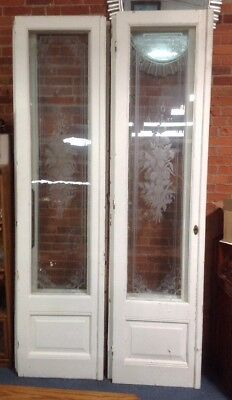 6 Count Giant 99 Inch Beautiful etched Wooden French Doors With Vintage Hardware