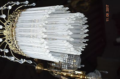 OLD  FRENCH CRYSTAL  CHANDELIER ICICLE GLASS RODS  c1940  STUNNING