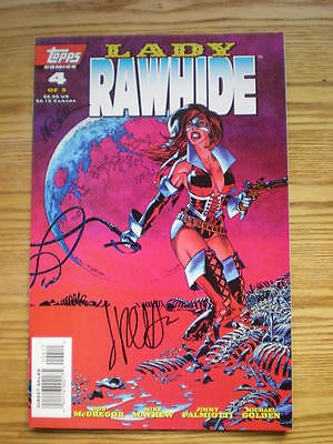 1996 Topps Zorro's Lady Rawhide # 4 Signed 2X Jimmy Palmiotti & Michael Golden