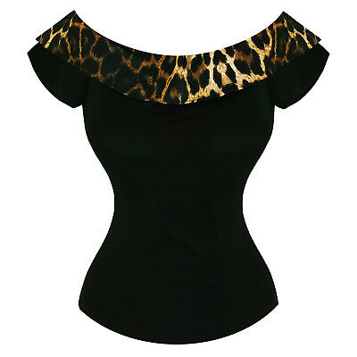 Hell Bunny Panthera Off Shoulder Leopard Rockabilly Pinup 1950s 1980s Retro Top