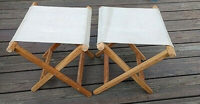 2- Vintage Wooden Canvas Camping Stools Chairs Folding Collapsible Primitive