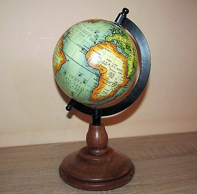 Super compact Legend world globe on wooden stand and metal frame. 10 inch high.