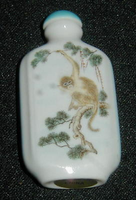 OLDER HAND PAINTED CHINESE PORCELAIN SNUFF BOTTLE w MONKEY, PINE, MOUNTAINS