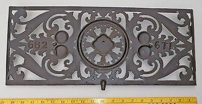 VICTORIAN CAST IRON BLACK DAMPER COVER / FLOOR REGISTER VENT GRATE 20x8.5