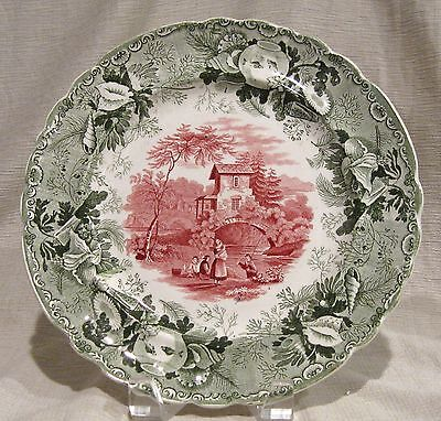 "Enoch Wood Fisherman 2 Color Transferware 9 1/4"" Plate"