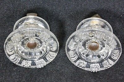 "2 old knobs 2 1/16"" drawer pulls closet door crystal glass vintage 1800's short"