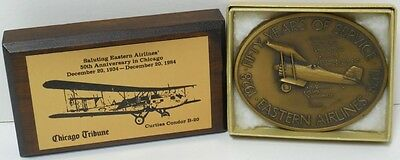 2 New 50Th Eastern Airlines Anniversary Paperweights With Original Box And Note