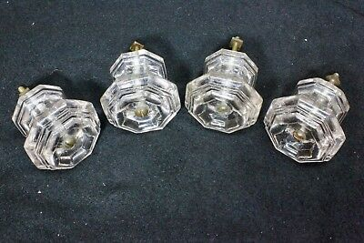 "4 old knobs 2 1/8"" drawer pulls door crystal purple glass vintage 1800's hexagon"