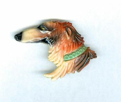 Vintage RARE Early Plastic Borzoi Head Pin from Paris Made in France