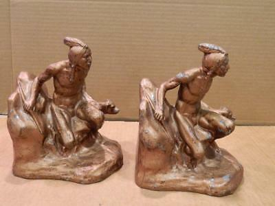 Pair of Native American Indians w/ Dogs Brass Plated Spelter Bookends Vintage