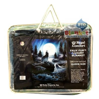 Spirits of the Wild wolf howl at moon queen faux fur blanket NEW