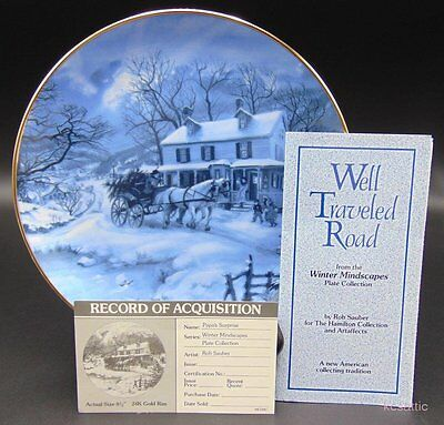 "Rob Sauber Winter Mindscapes ""Well Traveled Road"" Hamilton Collection Plate"