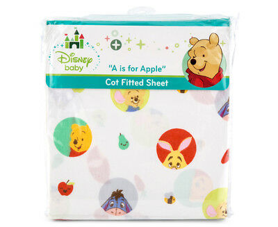 Disney Baby Cot Pooh A Is For Apple Fitted Sheet - White