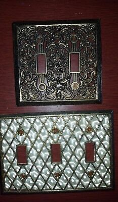 Lot of 2- Vintage? Ornate Brass Tone Switch/light switch cover, Plates