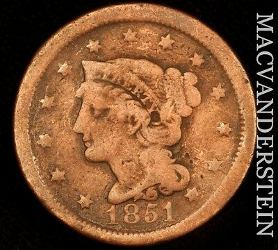 1851 Braided Hair Large Cent - Scarce!!  Better Date!!  #u9558