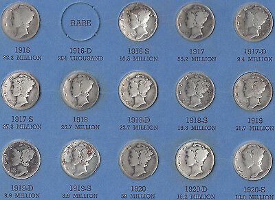 Mercury Dime Collection - 68 different silver dimes - 1916 to 1945