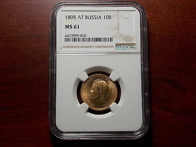 1898 Russia 10 Rouble Gold coin NGC MS-61 Better date