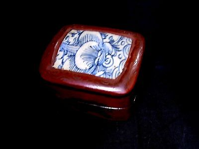 Japanese Antique Kogo Old Imari Ware Porcelain Tile/Wooden Box Edo Period