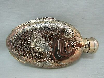 Vintage Towle Silver Plated Fish Flask