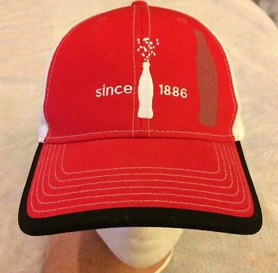 Coca Cola Since 1886 Embroidered Bottle Red & White Cap Hat Strapback Coke NWOT