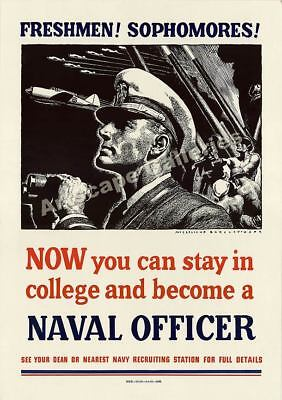 Become a Naval Officer Vintage Style WW2 Poster - 24x34