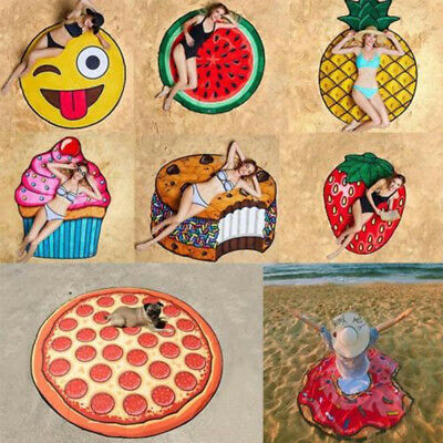 3D Fruit Donuts Hamburgers Big Round Towel Pool Shower Beach Shawl Mat Blanket