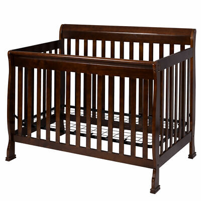 Coffee Pine Wood Baby Toddler Bed Convertible Crib Nursery Furniture Children