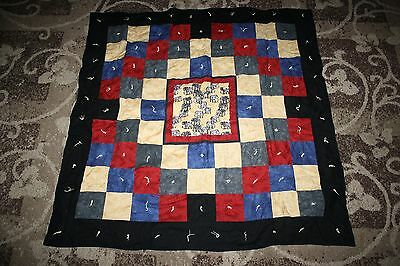 "Patchwork Quilt 54x54"" red yellow blue elephants tied"