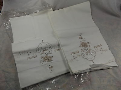 Retro 60s Vintage Pair White Embroidered Linen Pillow Cases MIP ~ Shabby Chic