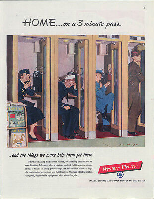 Home on a 3 minute pass Western Electric Pay Telephones ad 1951 servicemen